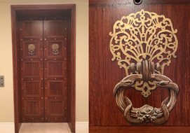 Elevator doors with woodgrained finish, Trompe L'oeil panels and embelished detail.