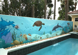 Original Coral Reef Mural on courtyard pool wall measuring 37' by 7'.