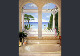 Original landscape mural (7'x 7') on a bathroom wall above the tub.