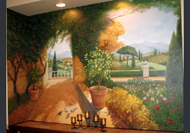 This acrylic mural is 8' high x 11.5' wide & painted directly in the recessed niche in the dining room.