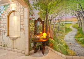 A trompe l'oeil tropical garden mural. All the walls and ceilings were painted to create a stunning atmosphere in a private condominium entrance hall.