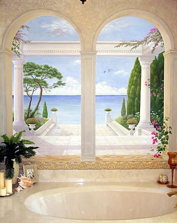 Mural Projects - Bathroom Trompe loeil Mural